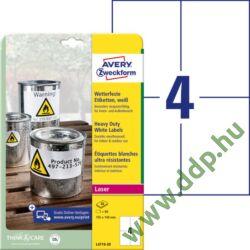 Etikett címke speciális időjárásálló poliészter fehér 105x148mm 20ív Avery-Zweckform
