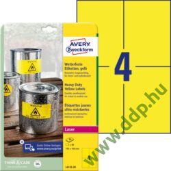 Etikett címke speciális időjárásálló poliészter sárga 105x148mm 20ív Avery-Zweckform