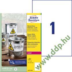 Etikett címke speciális időjárásálló poliészter fehér 210x297mm 100ív -L4775-100- Avery-Zweckform