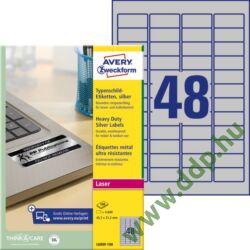 Etikett címke speciális ipari ezüst poliészter 45,7x21,2mm 100ív L6009-100 Avery-Zweckform