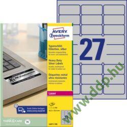 Etikett címke speciális ipari ezüst poliészter 63,5x29,6mm 100ív L6011-100 Avery-Zweckform