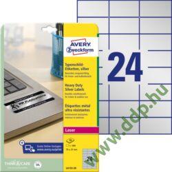 Etikett címke speciális ipari ezüst poliészter 70x37mm 20ív L6133-20 Avery-Zweckform