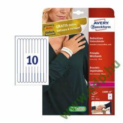Etikett nyomtatható karszalag 265x18mm fehér 100db/dob Avery-Zweckform