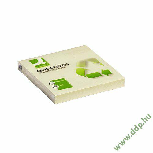Öntapadós jegyzettömb 75x75mm recycled sárga Q-CONNECT -FT510282773/KF05609-