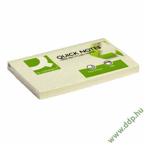 Öntapadós jegyzettömb 75x125mm recycled sárga Q-CONNECT -FT510282831/KF05610-