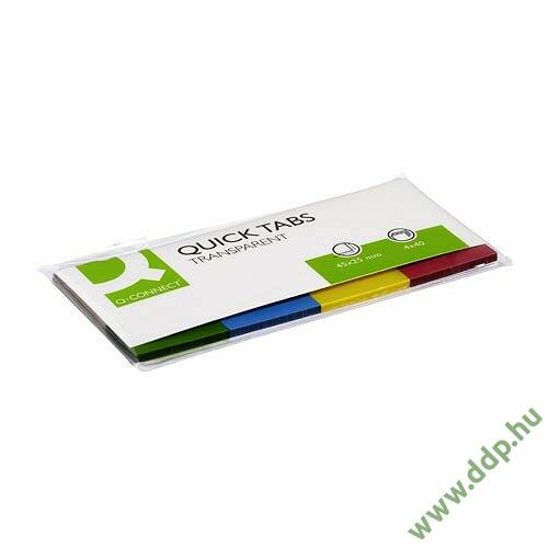 Öntapadós oldaljelölő átlátszó színes szélű 20x50mm 4x40lap/csomag Q-CONNECT -FT510283136/KF01225-