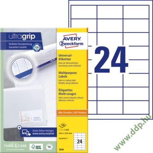 Etikett 3658 64,6x33,8mm 100ív Avery-Zweckform QuickPeel fehér