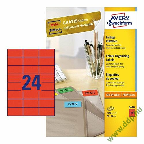 Etikett címke speciális piros 70 x 37 mm 3448 Avery-Zweckform