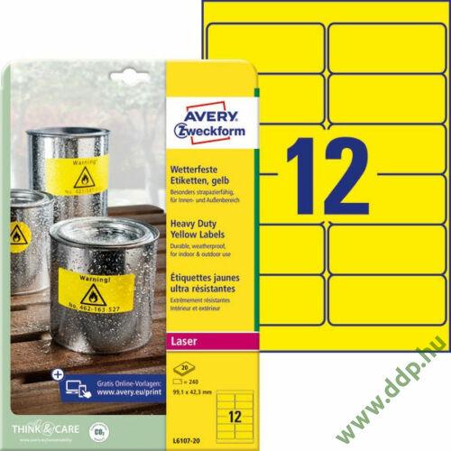 Etikett 6107 99,1x42,3mm 20 ív sárga Avery-Zweckform