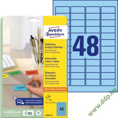 Etikett 6039-20 47,5x21,2mm 20 ív kék Avery-Zweckform -L6039-20-