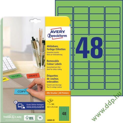 Etikett 6040-20 45,7x21,2mm 20 ív zöld Avery-Zweckform -L6040-20-