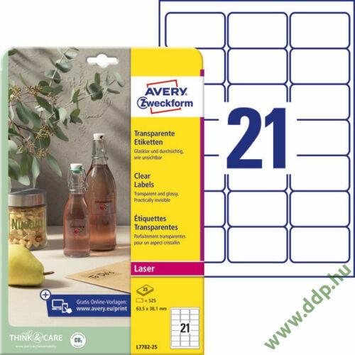 Etikett címke speciális L7782-25 víztiszta átlátszó címke 63,5 x 38,1 mm