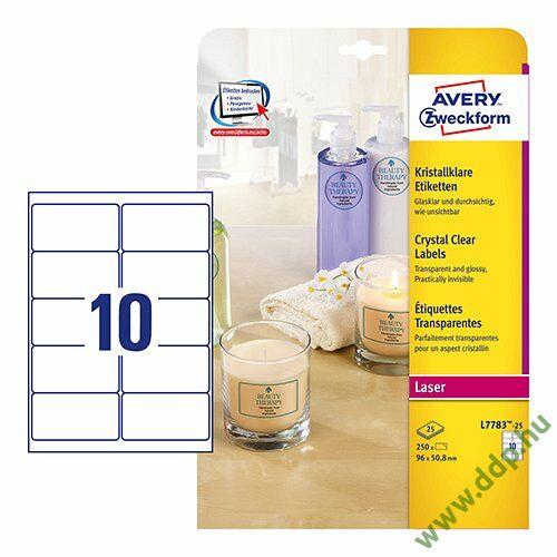 Etikett címke speciális L7783-25 90x50,8 víztiszta 25ív Avery-Zweckform