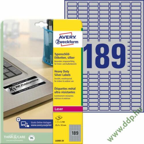 Etikett 6008 25,4x10mm 20 ív ezüst ipari Avery-Zweckform