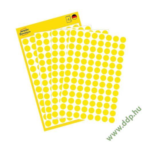 Etikett öntapadó 8mm kör Avery-Zweckform 3013 sárga 416 jelölőpont/csm