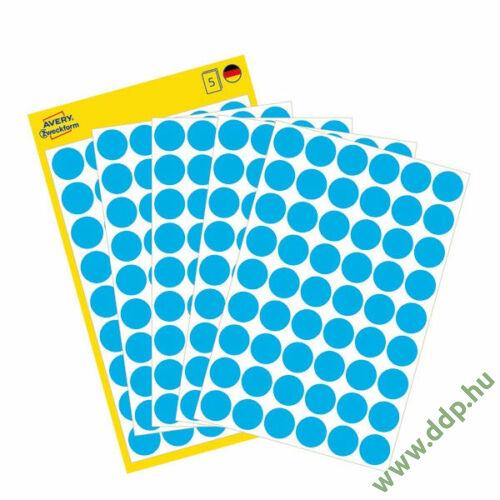 Etikett öntapadó kör 12mm 270 jelölőpont/csm Avery-Zweckform kék -3142-