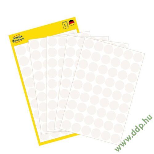 Etikett öntapadó kör 12mm 270 jelölőpont/csm Avery-Zweckform fehér -3145-