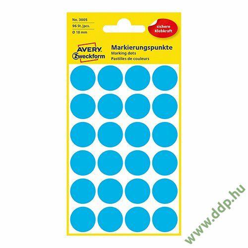 Etikett öntapadó 18mm 96 jelölőpont/csm Avery-Zweckform kék -3005-