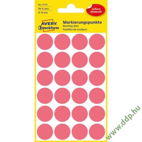 Etikett címke jelölőpont 18mm neon piros -3172-