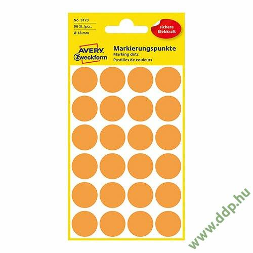 Etikett címke jelölőpont 18mm neon narancs -3173-