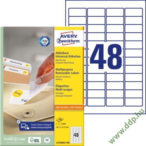 Etikett címke speciális L4736REV-100 visszaszedhető 45,7 x 21,2 mm 100ív Avery-Zweckform
