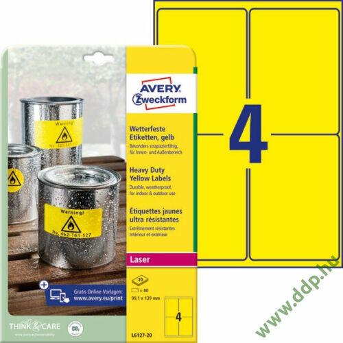 Etikett címke speciális L6127-20 időjárásálló sárga poliészter címke 99,1 x 139 mm
