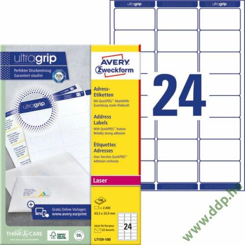Etikett 7159 63,5x33,9mm 100ív L7159-100 Avery-Zweckform QuickPeel