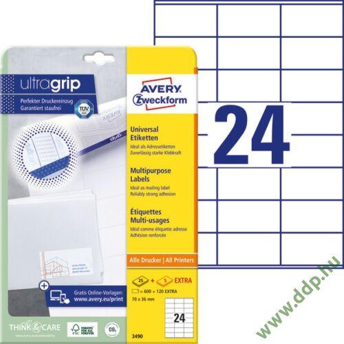 Etikett címke univerzális 3490 70x36mm 25ív Avery-Zweckform