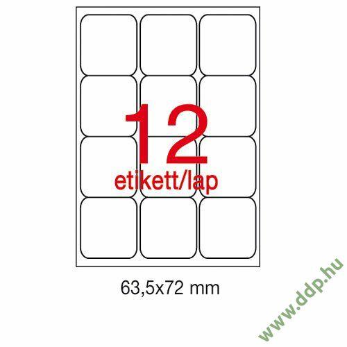 Etikett A2416 63,5x72mm 100ív kerekített sarkú APLI