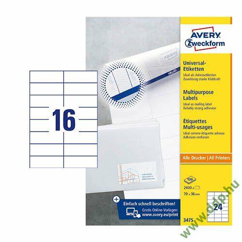 Etikett címke univerzális fehér 105x37mm 220ív -3484-200- Avery-Zweckform