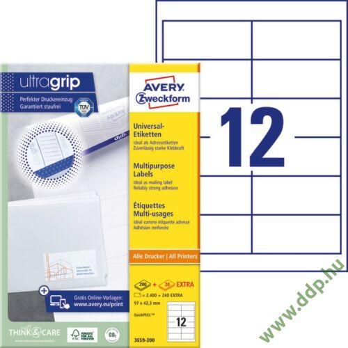 Etikett címke univerzális fehér 97x42,3mm 220ív -3659-200- Avery-Zweckform