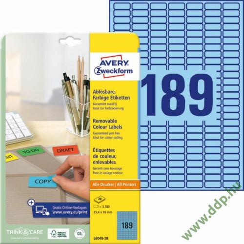 Etikett címke speciális visszaszedhető kék 25,4x10mm 20ív -L6048-20- Avery-Zweckform