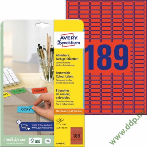 Etikett címke speciális visszaszedhető piros 25,4x10mm 20ív -L6036-20- Avery-Zweckform