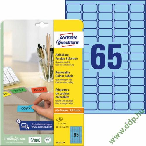 Etikett címke speciális visszaszedhető kék 38,1x21,2mm 20ív -L4791-20- Avery-Zweckform