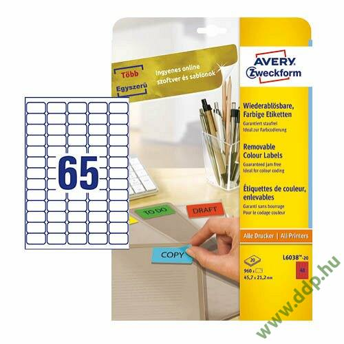 Etikett címke speciális visszaszedhető piros 38,1x21,2mm 20ív -L4790-20- Avery-Zweckform