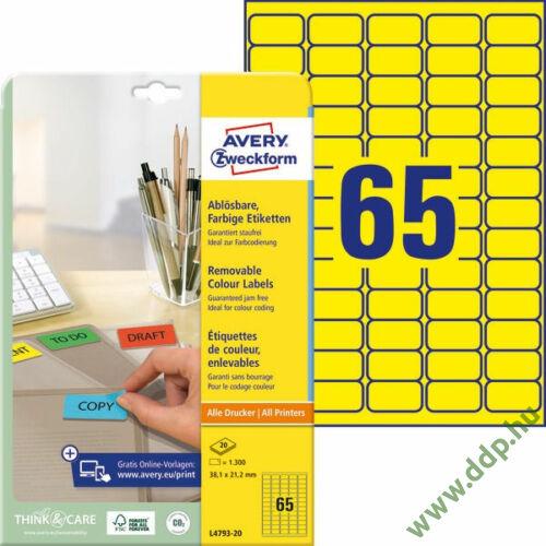 Etikett címke speciális visszaszedhető sárga 38,1x21,2mm 20ív -L4793-20- Avery-Zweckform