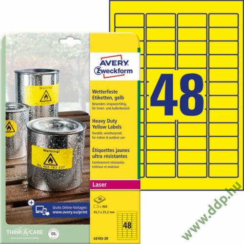 Etikett címke speciális időjárásálló poliészter sárga 45,7x21,2mm 20ív Avery-Zweckform