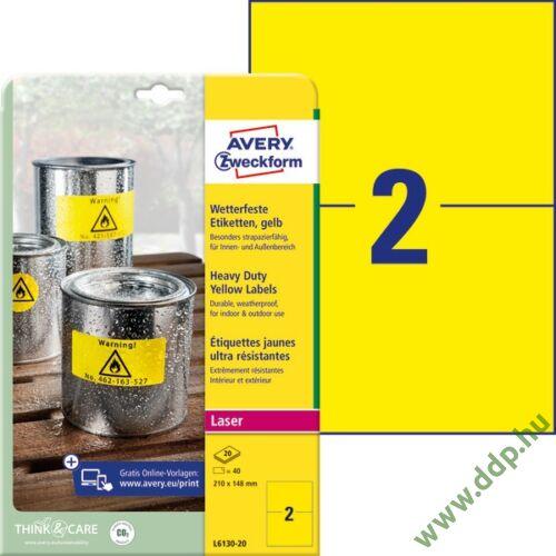 Etikett címke speciális időjárásálló poliészter sárga 210x148mm 20ív Avery-Zweckform