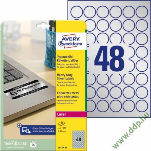 Etikett címke speciális ipari ezüst poliészter 30mm L6129-20 20ív Avery-Zweckform