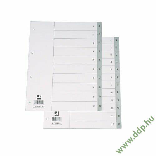 Regiszter A/4 1-12 részes szürke műanyag számregiszter Q-CONNECT elválasztólap -850257/KF01826-