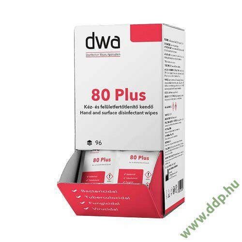 Nedves bőr-és felületfertőtlenítő DWA80Plus törlőkendő 96x1lap kínálódobozban
